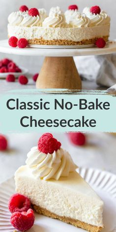 This No-Bake Cheesecake features a homemade graham cracker crust with a creamy and fluffy cheesecake filling. This recipe is simple to make and perfect for an easy dessert! Also includes several diffe Easy No Bake Cheesecake, Baked Cheesecake Recipe, Homemade Cheesecake, Easy No Bake Desserts, Cheesecake Desserts, Köstliche Desserts, Health Desserts, Banana Cheesecake, Cheesecake Bites
