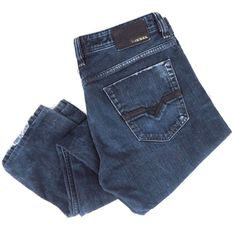 DIESEL Viker Jeans 32 x 32 Distressed Straight Leg 008XB Blue Denim Button Fly #DIESEL #ClassicStraightLeg