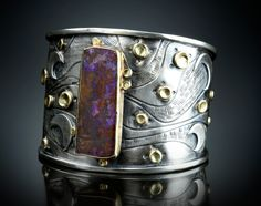 Boulder Opal Bracelet. Fabricated Sterling Silver and 18k Gold.  www.amybuettner.com https://www.facebook.com/pages/Metalsmiths-Amy-Buettner-Tucker-Glasow/101876779907812?ref=hl https://www.etsy.com/people/amybuettner http://instagram.com/amybuettnertuckerglasow