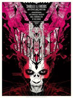 Skrillex poster gig art print seven lions etnik screen print split fountain skull face