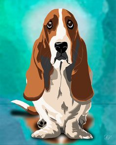 An pre-made Bassett Hound Art Rendering 8x10 or 11x14 Background colors can be altered to match your decor.... Background & border colors can