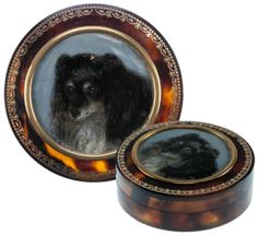 RARE Antique French Snuff Box 18K Gold Pique Portrait of King James Spaniel | eBay