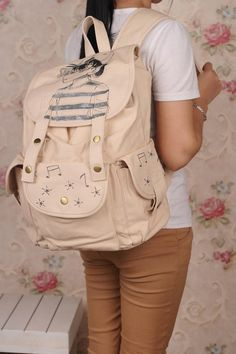 Simply Hand-drawn Graffiti and Cartoon Canvas Travel And Leisure Backpacks For Girls