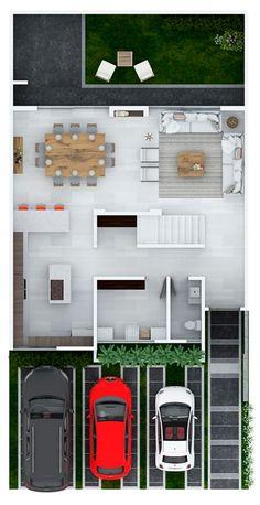 Minimalist House Design, Tiny House Design, Minimalist Home, Modern Lake House, Modern House Plans, Cottage House Plans, Cottage Homes, Small Villa, Small Floor Plans