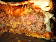 Extreme Bacon and Cheese Stuffed Pizza Burger Recipe