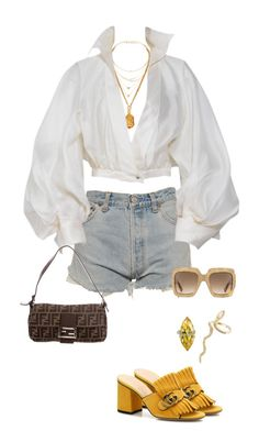 Untitled #4328 by kimberlythestylist on Polyvore featuring moda, Claude Montana, Levi's, Gucci, Fendi, Jacquie Aiche, Tiffany & Co. and Daisy Knights