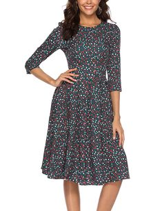 2b7684e33e Simple Flavor Women's Floral Vintage Dress Elegant Midi Evening Dress 3/4  Sleeves at Amazon