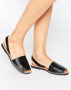 Image 1 ofPark Lane Black Leather Sling Flat Sandals
