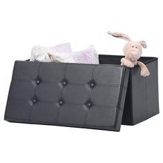 AuAg Folding Storage Ottoman Bench Faux Leather Toy Box/Chest Window Padded Seat Foot Rest Storage Easy to Assemble (Black, Wicker Storage Trunk, Round Storage Ottoman, Bedding Storage, Bed Storage, Living Room Seating, Toy Boxes, Foot Rest, Storage Organization, Easy