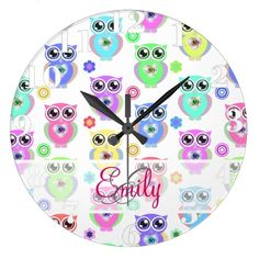 Monogram Pastel Owls Love Heart Floral pattern Clocks available here : http://www.zazzle.com/personalized_name_red_glitter_cherry_wallclocks-256309211283456999?rf=238489066022089310