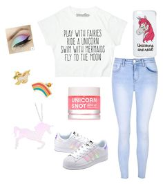 """""""Unicorn Outfit"""" by tiatotally on Polyvore featuring Glamorous, adidas Originals, Miss Selfridge, Yellow Owl Workshop and Curiology"""