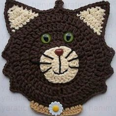 Ideas crochet cat potholder hot pads for 2019 Chat Crochet, Crochet Motif, Crochet Flowers, Crochet Baby, Free Crochet, Diy Laine, Knitting Patterns, Crochet Patterns, Crochet Hot Pads