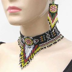 Native American beaded necklace and earrings