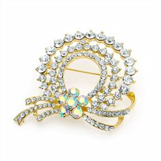 gold crystal flower wreath ladies womens fashion dress brooch | 14586 | £11.50