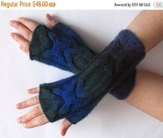 SALE Fingerless Gloves Dark Blue Green Black Arm by Initasworks