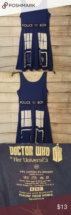M Doctor Who Tardis Cosplay Skater Dress Women's M Doctor Who by Her Universe Tardis Blue Sleeveless Skater Cosplay Dress  This item is pre-owned  ***Has some cracking in the graphics. See picture #4 for details.***  Please know your measurements before bidding!  Chest measures: 32 inches relaxed, 36 inches stretched Waist measures: 28 inches relaxed, 32 inches stretched Hips measure: 40 inches Length: ~34 inches from top of shoulder to hem.  Comes from a non smoking, pet friendly home! Her…