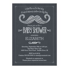 Modern Chalkboard Little Man Mustache Baby Shower 5x7 Paper Invitation Card