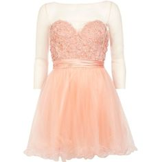 River Island Coral Forever Unique embellished prom dress ($160) ❤ liked on Polyvore featuring dresses, short dresses, vestidos, coral, sale, women, coral prom dresses, cocktail party dress, cocktail prom dress and prom dresses