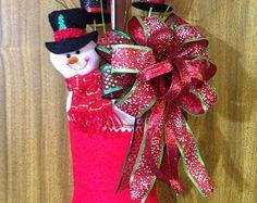Suspensión de puerta media de la Navidad - muñeco de nieve