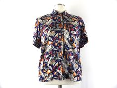 Vintage 90s Nicole Miller Novelty Print Boxy Silk Blouse, Top - 1993 Wine Print Sommelier Gift - Blue, White, Brown, Red - Medium Small by Iterations on Etsy