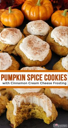 Pumpkin Spice Cookies with Cinnamon Cream Cheese Frosting are the perfect Fall C. - Desserts - Pumpkin Spice Cookies with Cinnamon Cream Cheese Frosting are the perfect Fall Cookies and a wonder - Pumpkin Spice Cookies, Fall Cookies, Yummy Cookies, Pumpkin Spice Latte, Cinnamon Cookies, Pumpkin Cookie Recipe, Spiced Pumpkin, Canned Pumpkin, Yummy Dessert Recipes