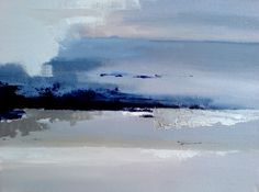 Frozen lake - abstract winter landscape - oil on canvas