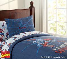 Spider-Man® Duvet Cover, Twin on potterybarnkids.com - for Jovani's new Spiderman/Superhero room!