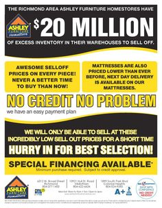 Stop by one of our stores to see the 20 Million Dollar Inventory Sell Off