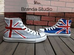 UK Flag Union Jack Studio High Top Hand Painted Shoes 49.99 Usd,Paint On Custom Converse Shoes Only 89Usd, for chwistmas? i wuv u!:) @Allison @Dieter Kelly