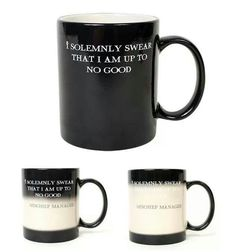 """#mug shots Turns white when you put something hot, and changes to """"Mischief managed"""""""
