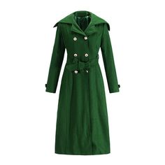 Yoins Dark Green Self-tie Double Breasted Design Thicken Outerwear ($62) ❤ liked on Polyvore featuring outerwear, coats, long sleeve coat, double breasted coat, green coat and dark green coat