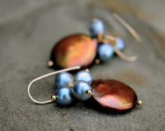 gold coin pearl dangle earrings, grey baroque pearl cluster earrings, rich gold and bright silver grey pearl earrings