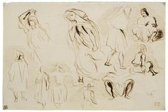 Eugène Delacroix, A SHEET OF STUDIES OF ARABS, SEATED AND STANDING