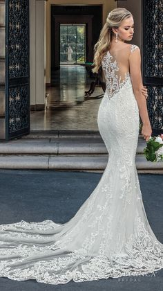 Casablanca spring 2018 sleeveless strap plunging sweetheart neckline full embellishment elegant fit and flare wedding dress lace button back chapel train (kinsley) bv -- The Spring 2018 Casablanca Bridal Collection is All Kinds of Gorgeous #CasablancaBridal #bridal #wedding #weddingdress #weddinggown #sponsor