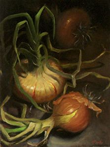 New crop. Still life with Vidalia Onions. by Natalia Ivan Clarke Oil ~ 12 x 9 Painting Still Life, Still Life Art, Veggie Art, Vidalia Onions, Botanical Illustration, Botanical Prints, Oil Painting On Canvas, Art Pictures, Be Still