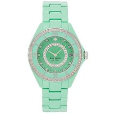 Women's kate spade new york 'seaport grand' crystal enamel bracelet... (330 AUD) ❤ liked on Polyvore featuring jewelry, watches, accessories, bezel watches, dial watches, crystal stone jewelry, watch bracelet and crystal watches