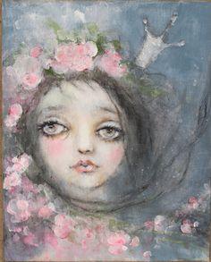 original girl child princess portrait floral roses by fadedwest, $99.00