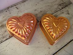 pair of  heart molds wall hanging copper by rivertownvintage, $15.00
