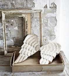 Image of HAND CARVED Stunning Decorative Angel Wings