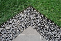 Concrete Pebble Grass, like the idea of being able to extend the patio an also having a drip line that will keep things looking tidy. Maybe use something a little more exciting than concrete pebble gravel though Landscape Materials, Landscape Design, Garden Design, Back Gardens, Outdoor Gardens, Patio Edging, Paving Pattern, Garden Paving, Paving Ideas