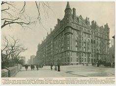 The ornate Navarro Flats, a luxury apartment building, were on Central Park South in 1882. In 1926 the building was sold and a number of businesses took its place.