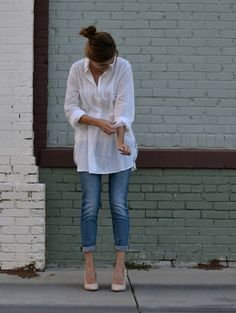 A white button up is essential to your fall wardrobe.  It's great under blazers, with vests, or with a cropped sweater.  We love it paired with 7 For All Mankind boyfriend jeans (Josephina) and some vanilla heels. -Studio 3:19