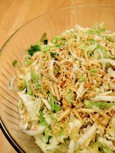 Chinese Nappa Cabbage Salad with Crunchy Noodle and Nut Topping. Perfect for picnics and bbqs.