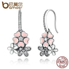 Fashion Style 925 Sterling Silver Daisy Boucles d/'oreille Charmant Cristal Bijoux