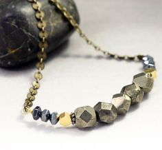 Geometric Pyrite Necklace  Beaded Gemstone by valeriegeometric