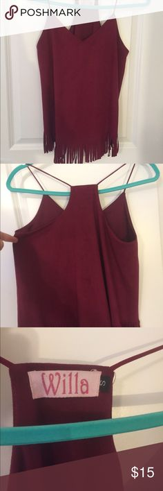 Maroon Faux Suede With Fringe Tank Top Super cute! Maroon/burgundy. Never worn so it is in perfect condition. Cute fringe on bottom. Originally from small boutique. Tops Tank Tops