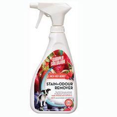 Simple Solution Stain & Odour Remover - Rich Red Berry Tehokas tahran- ja hajunpoistoaine lemmikkieläinten ja lasten aiheuttamille tahroille, punaisten marjojen tuoksuinen. (käy muukin vastaava tuote) Odor Remover, Spray Bottle, Cleaning Supplies, Berries, Simple, Cleaning Agent, Bury, Blackberry, Airstone