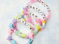 Set of 4 Sassy Pastel Bracelets / Kawaii Pastel Goth Kandi Rave Bracelets / Fairy Kei, Soft Grunge, Sassy Phrases Cute Bracelets