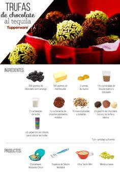Trufas de chocolate al tequila  Ingredientes 250 gramos de chocolate semi amargo 100 gramos de mantequilla 2 yemas de huevo 1 ½ cucharadas de tequila blanco o reposado 2 cucharadas de leche ½ cucharadita de chipotles adobados molidos 15 nueces picadas y tostadas c/s granillo de chocolate, oscuro, de leche y blanco c/s capacillos de colores para colocar las trufas  c/s= cantidad suficiente   Productos: Crystalware Redondo Chico Espátula de Silicón Mediana Ultra Tazón Mini Medicucharas