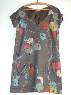 WHITE STUFF Grey & Multicolor Cotton Floral Print Tunic Dress Size 14UK (10 US).  a vendre dans ma boutique ebay